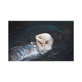Impressão Em Tela Lontra que come o jardim zoológico selvagem