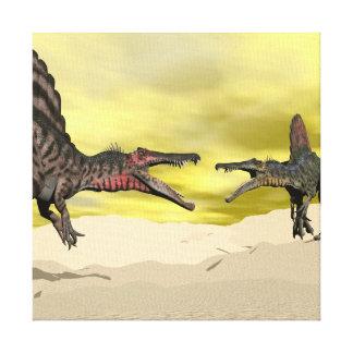 Impressão Em Tela Luta do dinossauro de Spinosaurus - 3D rendem