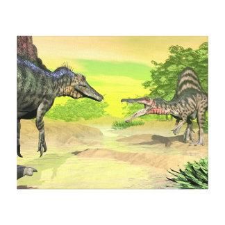 Impressão Em Tela Luta dos dinossauros de Spinosaurus - 3D rendem