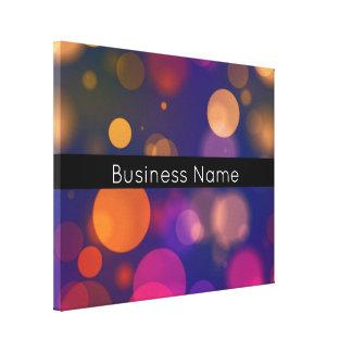 Impressão Em Tela Luzes coloridas de Bokeh com nome da empresa