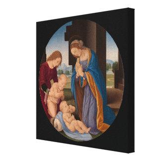 Impressão Em Tela Madonna adorador a criança com o santo infantil