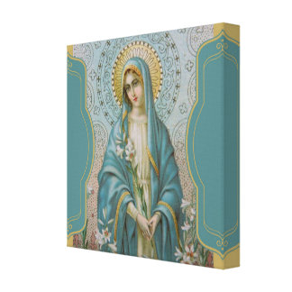 Impressão Em Tela Mãe abençoada Mary do Virgin com lírios