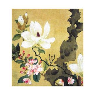 Impressão Em Tela Magnólia de Chen Hongshou e rocha ereta