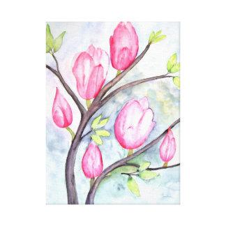 Impressão Em Tela Magnólias cor-de-rosa no Pastel azul
