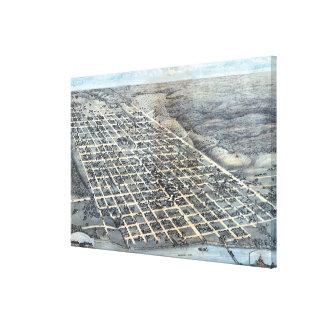 Impressão Em Tela Mapa aéreo antigo de Austin, Texas da cidade, 1873