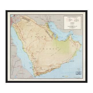 Impressão Em Tela Mapa da península árabe (1969)