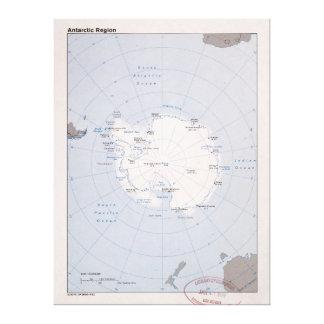 Impressão Em Tela Mapa da Região antárctica (1982)
