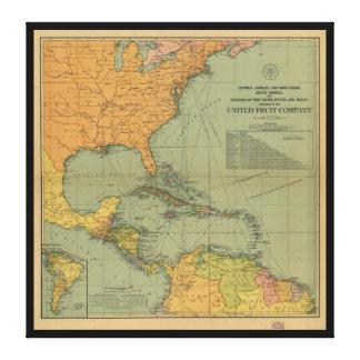 Impressão Em Tela Mapa de América Central & de Arredores (1909)