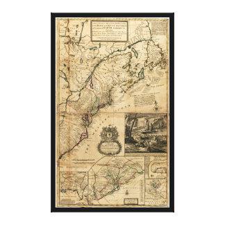 Impressão Em Tela Mapa de America do Norte (colônias britânicas)
