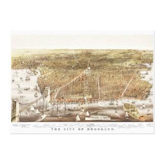 Impressão Em Tela Mapa de Brooklyn NY desde 1879