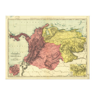 Impressão Em Tela Mapa de Colômbia e de Venezuela (1898)
