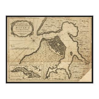 Impressão Em Tela Mapa de Havana, Cuba (1762)