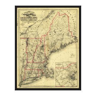 Impressão Em Tela Mapa de Nova Inglaterra e dos arredores (1860)