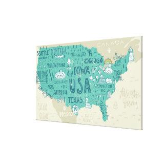 Impressão Em Tela Mapa do Doodle dos EUA