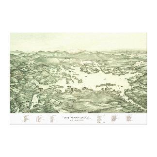 Impressão Em Tela Mapa do lago Winnipesaukee desde 1903