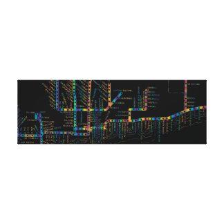Impressão Em Tela Mapa do metro de Chicago com a TINTURA do LAÇO da