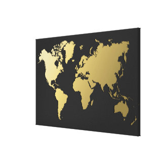 Impressão Em Tela Mapa do mundo do ouro em Chevron preto