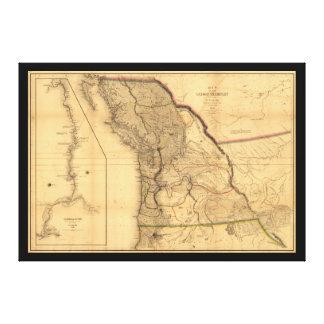 Impressão Em Tela Mapa do território de Oregon (1844)