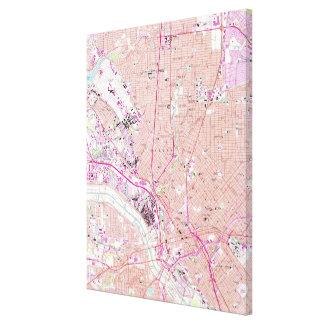 Impressão Em Tela Mapa do vintage de Dallas Texas (1958)