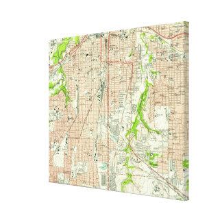 Impressão Em Tela Mapa do vintage de Fort Worth Texas (1955)