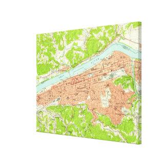 Impressão Em Tela Mapa do vintage de Huntington West Virginia (1957)