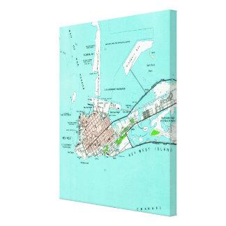 Impressão Em Tela Mapa do vintage de Key West Florida (1962)