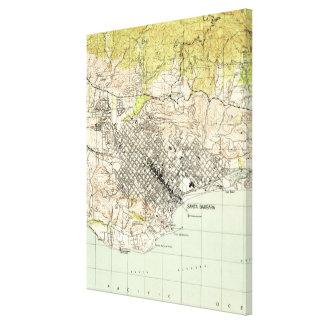 Impressão Em Tela Mapa do vintage de Santa Barbara Califórnia (1944)