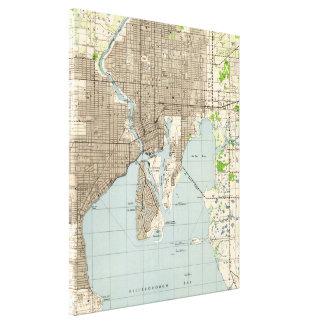 Impressão Em Tela Mapa do vintage de Tampa Florida (1944)