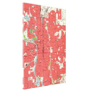 Impressão Em Tela Mapa do vintage de Wichita Kansas (1961)
