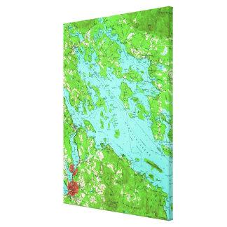 Impressão Em Tela Mapa do vintage do lago Winnipesaukee (1956)