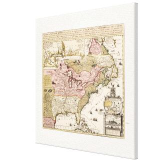 Impressão Em Tela Mapa francês medieval América de Quebeque/France