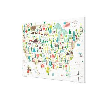 Impressão Em Tela Mapa ilustrado dos EUA