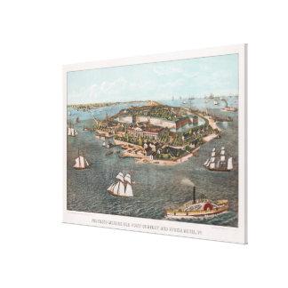 Impressão Em Tela Mapa pictórico do vintage de Fort Monroe Virgínia