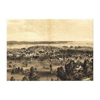 Impressão Em Tela Mapa pictórico do vintage de Hamilton Ontário