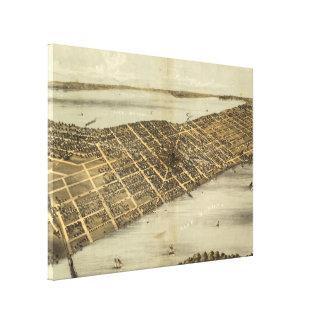 Impressão Em Tela Mapa pictórico do vintage de Madison Wisconsin
