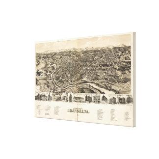 Impressão Em Tela Mapa pictórico do vintage de Roanoke Virgínia