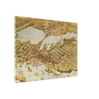 Impressão Em Tela Mapa pictórico do vintage de Vancôver BC (1898)