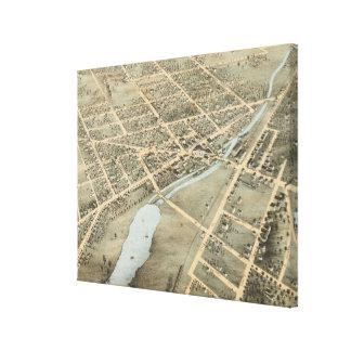 Impressão Em Tela Mapa pictórico do vintage de Waukesha Wisconsin