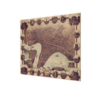 Impressão Em Tela Mapa pictórico do vintage de Winnipeg Canadá