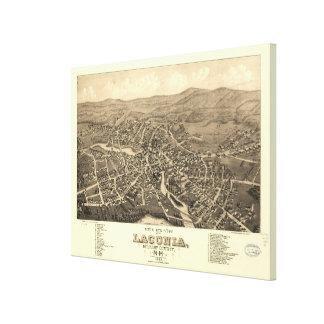 Impressão Em Tela Mapa pictórico do vintage do Laconia NH (1883)