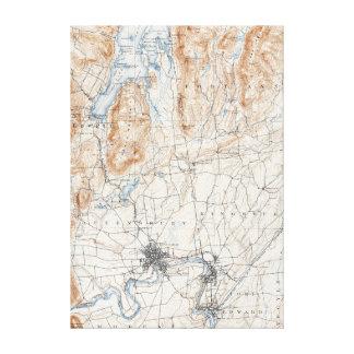 Impressão Em Tela Mapa topográfico de New York das quedas do vale do