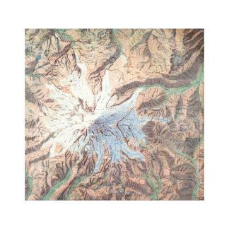 Impressão Em Tela Mapa topográfico Washington do Monte Rainier do