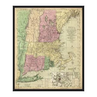 Impressão Em Tela Mapa velho de Nova Inglaterra (cerca de 1780)