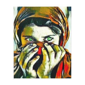 Impressão Em Tela Menina afegã com o retrato do óleo dos olhos