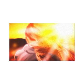 Impressão Em Tela Menina no por do sol. Ilustração-Poster-Canvas