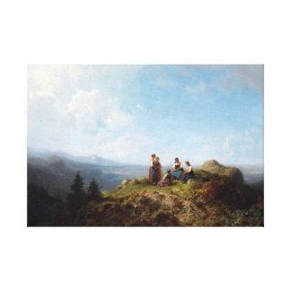 Impressão Em Tela Meninas de Carl Spitzweg em um pasto