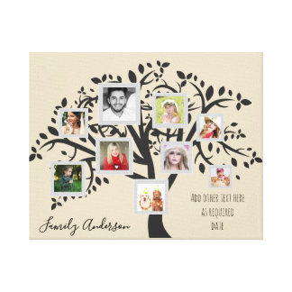 Impressão Em Tela Modelo da árvore genealógica da colagem da foto