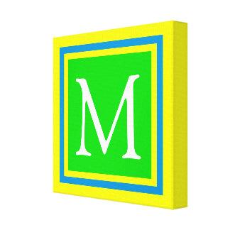 Impressão Em Tela Monograma azul e amarelo verde-claro