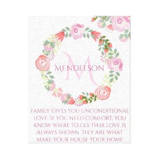 Impressão Em Tela Monograma floral feito sob encomenda personalizado