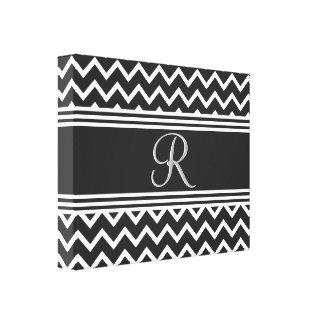 Impressão Em Tela Monograma gótico branco do ziguezague do preto |
